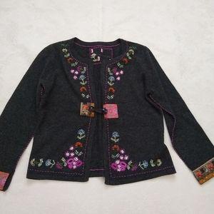 Wool embroidered boho cardigan brocade trim